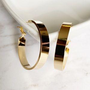 """14K Gold Dipped Hoop Earrings 1.5""""/4cm"""